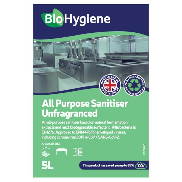 Picture of BioHygiene All Purpose Sanitiser UNFRAGRANCED 5L CONC